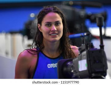 Budapest, Hungary - Jul 27, 2017. JAKABOS Zsuzsanna (HUN) in the Women 4x200m Freestyle Final. FINA Swimming World Championship was held in Duna Arena.