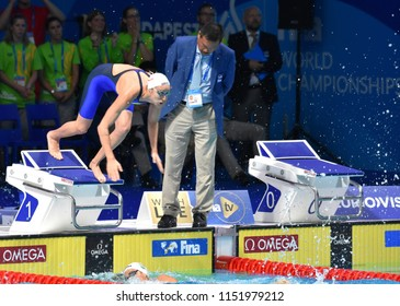 Budapest, Hungary - Jul 27, 2017. VERRASZTO Evelin (HUN) in the Women 4x200m Freestyle Final. FINA Swimming World Championship was held in Duna Arena.