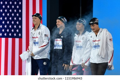 Budapest, Hungary - Jul 27, 2017. Team USA (SMITH Leah, COMERFORD Mallory, MARGALIS Melanie, LEDECKY Katie) in the Women 4x200m Freestyle Final. FINA Swimming World Championship was held in Duna Arena