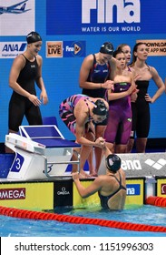 Budapest, Hungary - Jul 27, 2017. Winner Team USA (SMITH Leah, COMERFORD Mallory, MARGALIS Melanie, LEDECKY Katie) in the Women 4x200m Freestyle Final. FINA Swimming World Championship in Duna Arena.