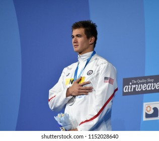 Budapest, Hungary - Jul 27, 2017. ADRIAN Nathan (USA) at the Victory Ceremony of the Men 100m Freestyle. FINA Swimming World Championship