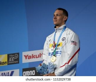 Budapest, Hungary - Jul 27, 2017. The winner DRESSEL Caeleb Remel (USA) at the Victory Ceremony of the Men 100m Freestyle. FINA Swimming World Championship