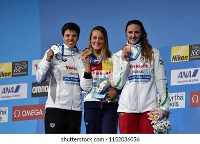 Budapest, Hungary - Jul 27, 2017. HOSSZU Katinka (HUN), HENTKE Franziska (GER) and winner BELMONTE Mireia (ESP) at the Victory Ceremony of the Women 200m Butterfly. FINA Swimming World Championship.