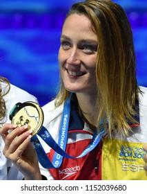 Budapest, Hungary - Jul 27, 2017. The winner BELMONTE Mireia (ESP) at the Victory Ceremony of the Women 200m Butterfly. FINA Swimming World Championship.