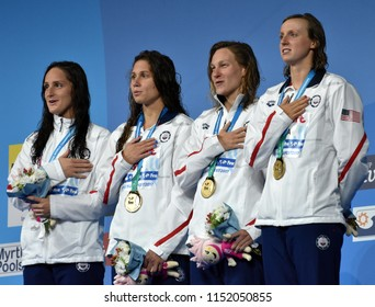 Budapest, Hungary - Jul 27, 2017. Winner Team USA (SMITH Leah, COMERFORD Mallory, MARGALIS Melanie, LEDECKY Katie) at the Victory Ceremony of Women 4x200m Freestyle. FINA Swimming World Championship.