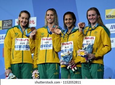 Budapest, Hungary - Jul 27, 2017. Team Australia (WILSON Madison, MCKEON Emma, NGAWATI Kotuku, TITMUS Ariarne) at the Victory Ceremony of the Women 4x200m Freestyle. FINA Swimming World Championship.