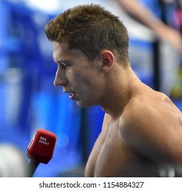 Budapest, Hungary - Jul 28, 2017. Competitive swimmer LOBANOVSKIJ Maxim (HUN) after swimming 50m freestyle. FINA Swimming World Championship Preliminary Heats in Duna Arena.