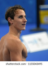 Budapest, Hungary - Jul 28, 2017. Competitive swimmer MCEVOY Cameron (AUS) after swimming 50m Freestyle. FINA Swimming World Championship Preliminary Heats in Duna Arena.