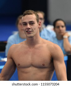 Budapest, Hungary - Jul 28, 2017. Competitive swimmer PUTS Jesse (NED) after swimming 50m Freestyle. FINA Swimming World Championship Preliminary Heats in Duna Arena.