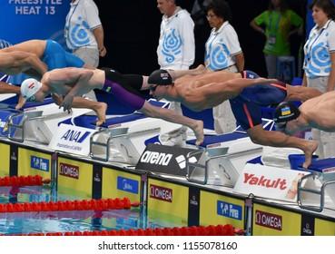 Budapest, Hungary - Jul 28, 2017. Competitive swimmer PROUD Benjamin (GBR) swimming 50m Freestyle. FINA Swimming World Championship Preliminary Heats in Duna Arena.