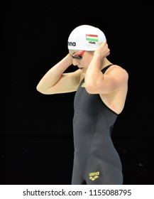 Budapest, Hungary - Jul 28, 2017. Competitive swimmer MOLNAR Flora (HUN) swimming 50m Butterfly. FINA Swimming World Championship Preliminary Heats in Duna Arena.