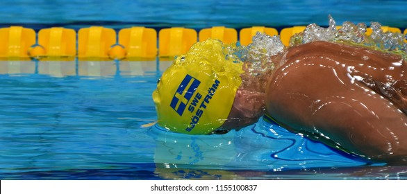 Budapest, Hungary - Jul 28, 2017. Competitive swimmer SJOSTROM Sarah (SWE) swimming 50m Butterfly. FINA Swimming World Championship Preliminary Heats in Duna Arena.