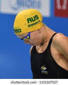 Budapest, Hungary - Jul 28, 2017. Competitive swimmer BARRATT Holly (AUS) swimming 50m Butterfly. FINA Swimming World Championship Preliminary Heats in Duna Arena.