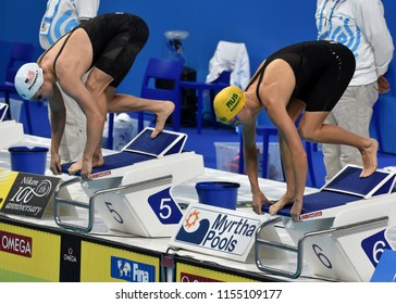 Budapest, Hungary - Jul 28, 2017. Competitive swimmer WORRELL Kelsi (USA) and BARRATT Holly (AUS) swimming 50m Butterfly. FINA Swimming World Championship Preliminary Heats in Duna Arena.