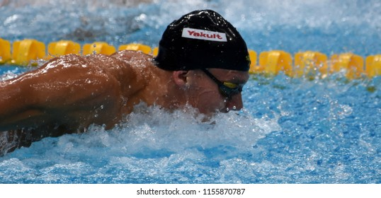 Budapest, Hungary - Jul 28, 2017. Competitive swimmer DRESSEL Caeleb Remel (USA) swimming 100m butterfly. FINA Swimming World Championship Preliminary Heats in Duna Arena.