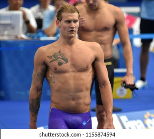 Budapest, Hungary - Jul 28, 2017. Competitive swimmer BROMER Viktor (DEN) after swimming 100m butterfly. FINA Swimming World Championship Preliminary Heats in Duna Arena.