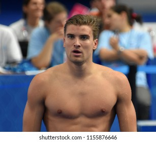 Budapest, Hungary - Jul 28, 2017. Competitive swimmer KUSCH Marius (GER) after swimming 100m butterfly. FINA Swimming World Championship Preliminary Heats in Duna Arena.
