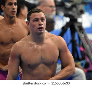Budapest, Hungary - Jul 28, 2017. LEMESHKO Liubomyr (UKR) and MARTINS Henrique (BRA) after swimming 100m butterfly. FINA Swimming World Championship Preliminary Heats in Duna Arena.