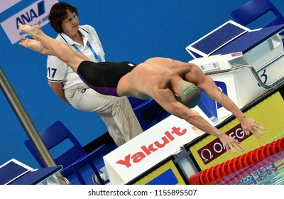 Budapest, Hungary - Jul 28, 2017. Competitive swimmer CSEH Laszlo (HUN) swimming 100m butterfly. FINA Swimming World Championship Preliminary Heats in Duna Arena.