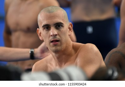 Budapest, Hungary - Jul 28, 2017. Competitive swimmer CSEH Laszlo (HUN) after swimming 100m butterfly. FINA Swimming World Championship Preliminary Heats in Duna Arena.