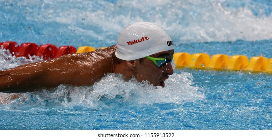 Budapest, Hungary - Jul 28, 2017. Competitive swimmer LE CLOS Chad (RSA) swimming 100m butterfly. FINA Swimming World Championship Preliminary Heats in Duna Arena.