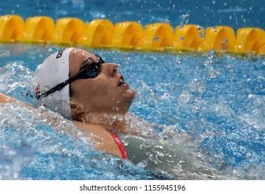 Budapest, Hungary - Jul 28, 2017. Competitive swimmer BURIAN Katalin (HUN) swimming 200m Backstroke. FINA Swimming World Championship Preliminary Heats in Duna Arena.