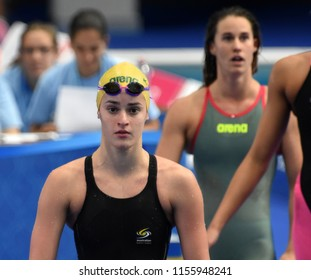 Budapest, Hungary - Jul 28, 2017. Competitive swimmer MCKEOWN Kaylee Rochelle (AUS) after swimming 200m Backstroke. FINA Swimming World Championship Preliminary Heats in Duna Arena.