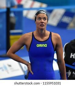Budapest, Hungary - Jul 28, 2017. Competitive swimmer PANZIERA Margherita (ITA) swimming 200m Backstroke. FINA Swimming World Championship Preliminary Heats in Duna Arena.
