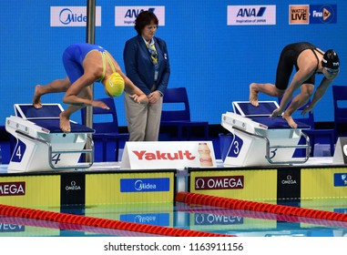 Budapest, Hungary - Jul 28, 2017. Competitive swimmer SJOSTROM Sarah (SWE) and COMERFORD Mallory (USA) in the 100m Freestyle Final. FINA Swimming World Championship was held in Duna Arena.