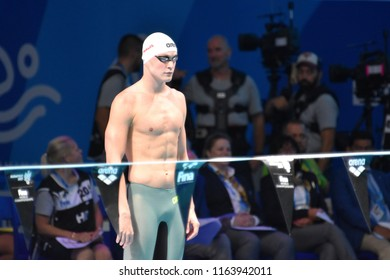 Budapest, Hungary - Jul 28, 2017. Competitive swimmer BERNEK Peter (HUN) in the 200m Backstroke Final. FINA Swimming World Championship was held in Duna Arena.