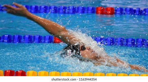 Budapest, Hungary - Jul 28, 2017. Competitive swimmer RYLOV Evgeny (RUS) in the 200m Backstroke Final. FINA Swimming World Championship was held in Duna Arena.