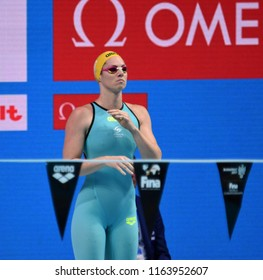 Budapest, Hungary - Jul 28, 2017. Competitive swimmer SEEBOHM Emily (AUS) in the 200m Backstroke Semifinal. FINA Swimming World Championship was held in Duna Arena.