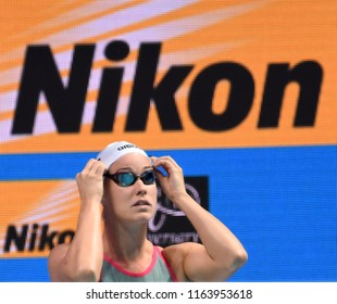 Budapest, Hungary - Jul 28, 2017. Competitive swimmer BURIAN Katalin (HUN) in the 200m Backstroke Semifinal. FINA Swimming World Championship was held in Duna Arena.