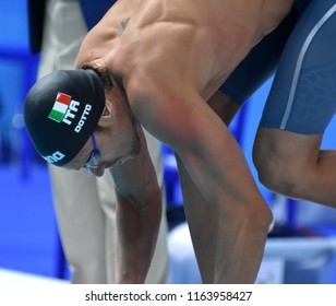 Budapest, Hungary - Jul 28, 2017. Competitive swimmer DOTTO Luca (ITA) in the 50m Freestyle SemiFinal. FINA Swimming World Championship was held in Duna Arena.