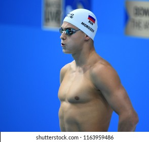 Budapest, Hungary - Jul 28, 2017. Competitive swimmer MOROZOV Vladimir (RUS) in the 50m Freestyle SemiFinal. FINA Swimming World Championship was held in Duna Arena.