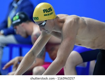 Budapest, Hungary - Jul 28, 2017. Competitive swimmer MCEVOY Cameron (AUS) in the 50m Freestyle SemiFinal. FINA Swimming World Championship was held in Duna Arena.