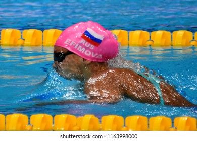 Budapest, Hungary - Jul 28, 2017. Competitive swimmer EFIMOVA Yuliya (RUS) in the 200m Breaststroke Final. FINA Swimming World Championship was held in Duna Arena.
