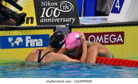 Budapest, Hungary - Jul 28, 2017. Competitive swimmer EFIMOVA Yuliya (RUS) and GALAT Bethany (USA) after the 200m Breaststroke Final. FINA Swimming World Championship was held in Duna Arena.