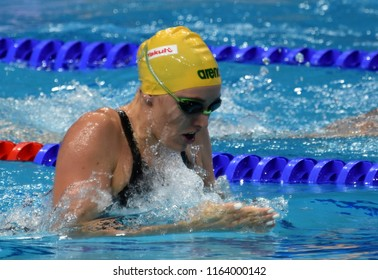 Budapest, Hungary - Jul 28, 2017. Competitive swimmer MCKEOWN Taylor (AUS) in the 200m Breaststroke Final. FINA Swimming World Championship was held in Duna Arena.