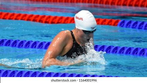 Budapest, Hungary - Jul 28, 2017. Competitive swimmer SMITH Kierra (CAN) in the 200m Breaststroke Final. FINA Swimming World Championship was held in Duna Arena.