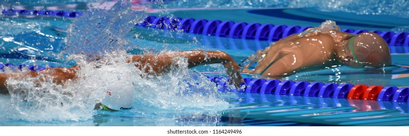 Budapest, Hungary - Jul 28, 2017. Competitive swimmer CSEH Laszlo (HUN) and LE CLOS Chad (RSA) in the 100m Butterfly SemiFinal. FINA Swimming World Championship was held in Duna Arena.