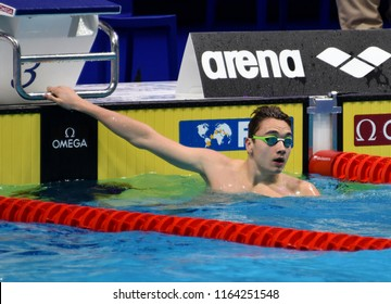 Budapest, Hungary - Jul 28, 2017. Competitive swimmer MILAK Kristof (HUN) in the 100m Butterfly SemiFinal. FINA Swimming World Championship was held in Duna Arena.
