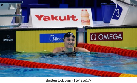 Budapest, Hungary - Jul 28, 2017. Competitive swimmer WORRELL Kelsi (USA) in the 50m Butterfly SemiFinal. FINA Swimming World Championship was held in Duna Arena.