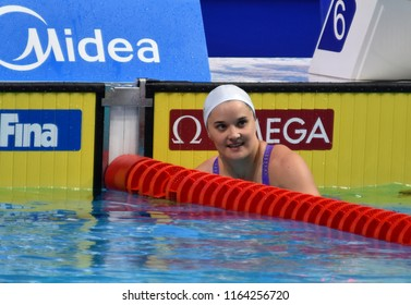 Budapest, Hungary - Jul 28, 2017. Competitive swimmer HENIQUE Melanie (FRA) in the 50m Butterfly SemiFinal. FINA Swimming World Championship was held in Duna Arena.