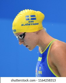 Budapest, Hungary - Jul 28, 2017. Competitive swimmer SJOSTROM Sarah (SWE) in the 50m Butterfly SemiFinal. FINA Swimming World Championship was held in Duna Arena.