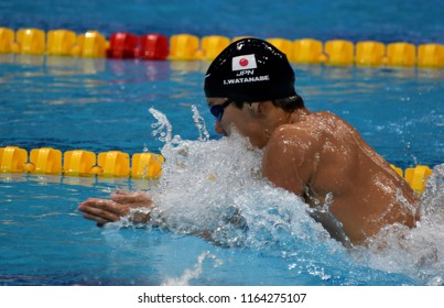 Budapest, Hungary - Jul 28, 2017. Competitive swimmer WATANABE Ippei (JPN) in the 200m Breaststroke Final. FINA Swimming World Championship was held in Duna Arena.