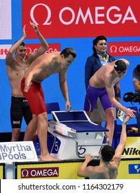 Budapest, Hungary - Jul 28, 2017. Team  GBR (MILNE Stephen, GRAINGER Nicholas, SCOTT Duncan, GUY James) win the Men 4x200m Freestyle Final. FINA Swimming World Championship in Duna Arena.