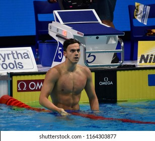 Budapest, Hungary - Jul 28, 2017. GUY James (GBR) in the Men 4x200m Freestyle Final. FINA Swimming World Championship in Duna Arena.