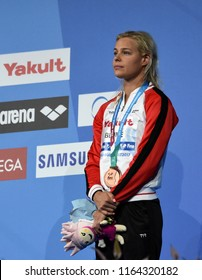 Budapest, Hungary - Jul 28, 2017. Bronze medalist BLUME Pernille (DEN) at the Victory Ceremony of the Women 100m Freestyle. FINA Swimming World Championship.