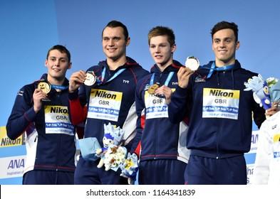 Budapest, Hungary - Jul 28, 2017. Winner Team GBR (MILNE Stephen, GRAINGER Nicholas, SCOTT Duncan, GUY James) at the Victory Ceremony of Men 4x200m Freestyle. FINA Swimming World Championship.